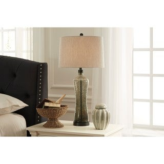 Signature Design by Ashley Sharrona Gray Glass Table Lamp