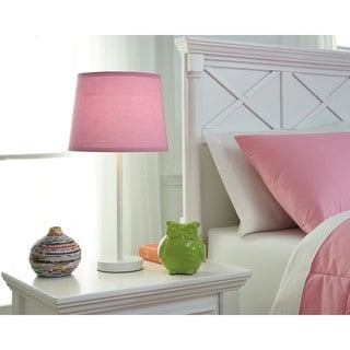 Signature Design by Ashley Shonie White/Pink Metal Table Lamp