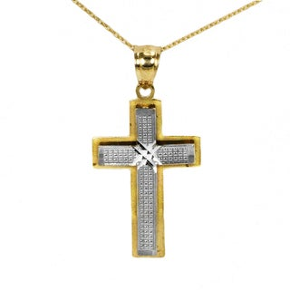 14k Two-tone Petite Fancy Cross Pendant