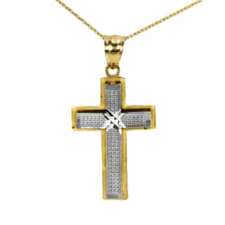 14k Two-tone Petite Fancy Cross Pendant|https://ak1.ostkcdn.com/images/products/14221824/P20814133.jpg?impolicy=medium