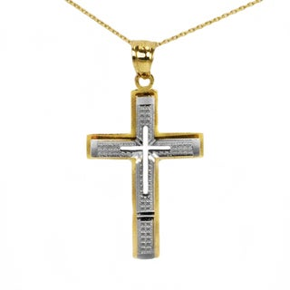 Two-tone 14k Gold Fancy Cross Pendant (3 options available)