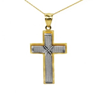 10k Two-tone Fancy Cross Pendant