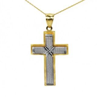 10k Two-tone Fancy Cross Pendant