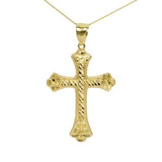 Men's 10k Yellow Gold Nugget Cross Pendant|https://ak1.ostkcdn.com/images/products/14221975/P20814232.jpg?impolicy=medium
