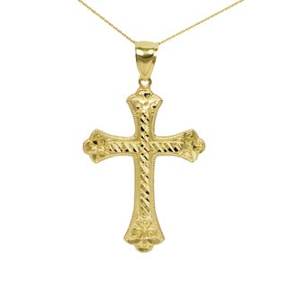 Men's 10k Yellow Gold Nugget Cross Pendant