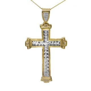 10K-karat Gold Two-tone Men's Cross Pendant