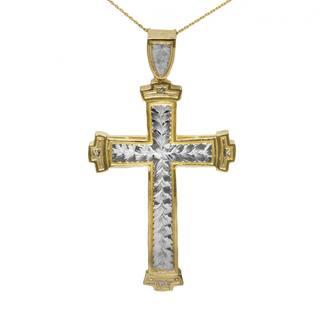 10K-karat Gold Two-tone Men's Cross Pendant|https://ak1.ostkcdn.com/images/products/14221985/P20814233.jpg?impolicy=medium