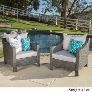 Antibes Outdoor Wicker Club Chair with Cushions (Set of 2) by Christopher Knight Home (3 options available)