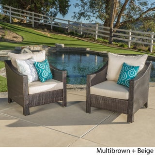 Antibes Outdoor Wicker Club Chair with Cushions (Set of 2) by Christopher Knight Home (Option: Brown with Beige)