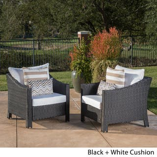Antibes Outdoor Wicker Club Chair With Cushions Set Of 2 By Christopher Knight Home