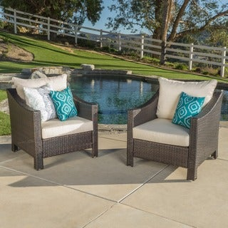 Antibes Outdoor Wicker Club Chair with Cushions (Set of 2) by Christopher Knight Home