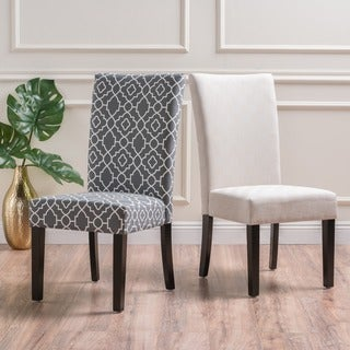 Jami Geometric Patterned Fabric Dining Chair (Set of 2) by Christopher Knight Home