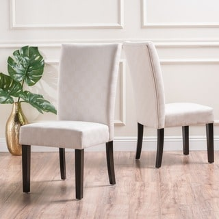 Jami Checkered Patterned Fabric Dining Chair (Set of 2) by Christopher Knight Home