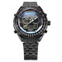 Shark Sport Watch Eightgill Men's LCD Multifunction Analog Quartz Watch Black Stainless Steel Band (with Gift Box)