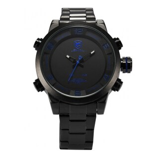 Shark Sport Watch Men's Analog LED Display Alarm Date Day Display Quartz Watch Stainless Steel Band (with Gift Box)