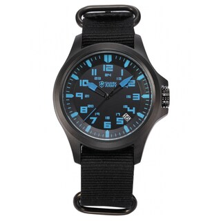 Shark Sport Watch Army Men's Outdoor Wrist Watch Date Display Military Black Nylon Strap (with Gift Box)