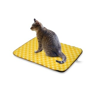 Fluffy Paws Yellow Dot Small Indoor Pet Bed Warmer Electric Heated Pad with Free Pad Cover (Dual Temperature UL Certified)