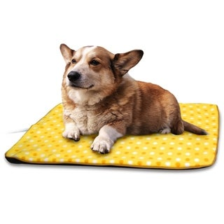 Fluffy Paws Yellow Dot Large Indoor Pet Bed Warmer Electric Heated Pad with Free Pad Cover (Dual Temperature UL Certified)