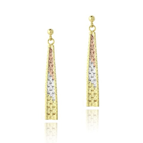 Mondevio Gold over Silver Tri-color Triangle Dangling Earrings