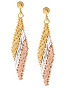 Mondevio Gold over Silver Tri-color Earrings