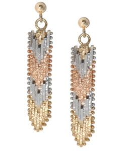 Mondevio Gold over Silver Tri-color V Dangling Earrings