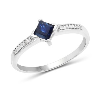 Malaika 14k White Gold 5/8ct TGW Blue Sapphire and White Diamond Accent Ring