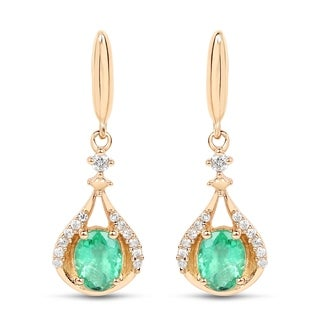 Malaika 14k Yellow Gold 3/4ct TGW Zambian Emerald and White Diamond Accent Earrings