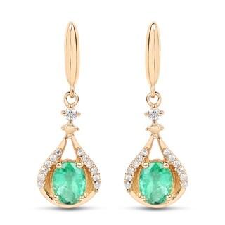 Malaika 14k Yellow Gold 3/4ct TGW Zambian Emerald and White Diamond Accent Earrings - Green
