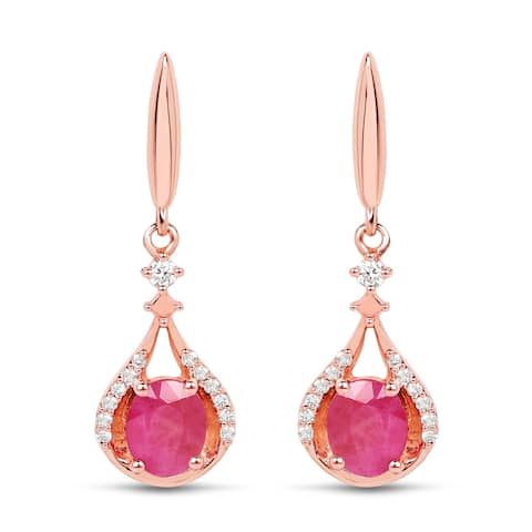 Malaika 14k Rose Gold 3/4ct TGW Ruby and White Diamond Accent Earrings - Pink