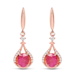 Malaika 14k Rose Gold 3/4ct TGW Ruby and White Diamond Accent Earrings