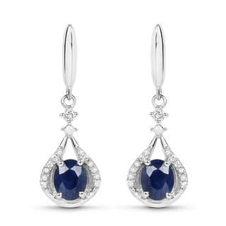 Malaika 14K White Gold 0.86 Carat Genuine Blue Sapphire and White Diamond Earrings