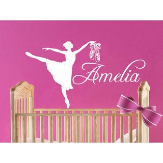 Girl Name Dancer Gymnastics Ballet Personalized Name Nursery Kids Custom Name Sticker Decall size 44