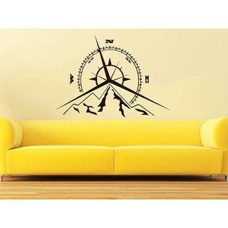 Compass Rose Mountains Nautical Compass Navigate Ship Living Room Bedroom Sticker Decall size 44x44 Color Black