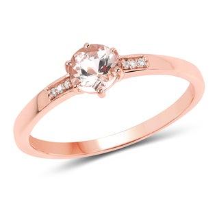 Malaika 14k Rose Gold 2/5ct TGW Morganite and White Diamond Accent Ring