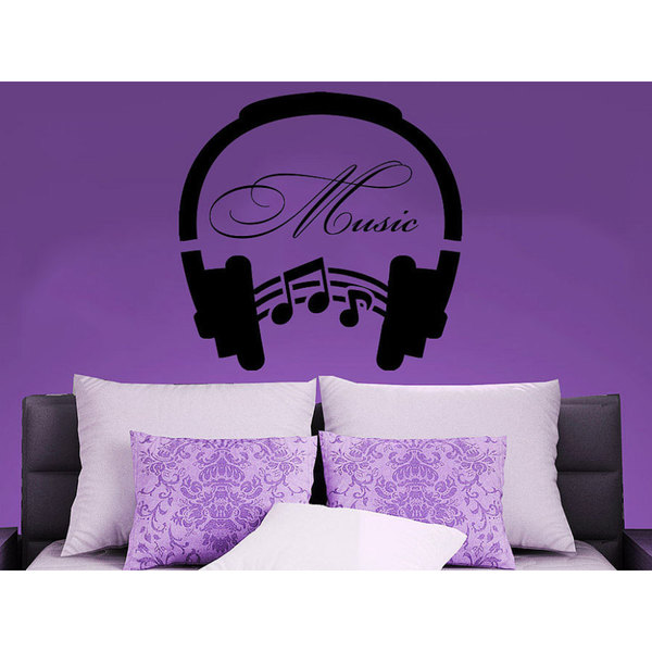 Music Headphones Musical Notes Waves Music Recording Studio Decor Sticker Decal size 22x22 Color Black - 22 x 22. Opens flyout.