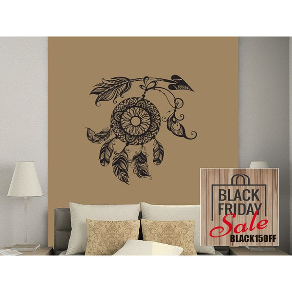 Arrows Wall Decal Dreamcatcher Dream Catcher Feathers Night Symbol Indian Sticker Decal size 33x39 Color Black