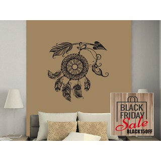 Arrows Wall Decal Dreamcatcher Dream Catcher Feathers Night Symbol Indian Sticker Decal size 33x39 C