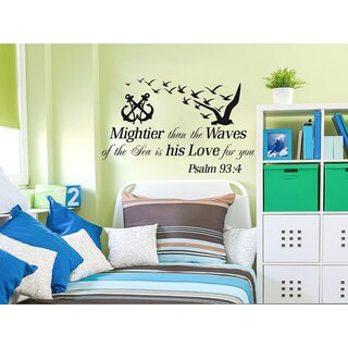 Quotes Vinyl Sticker Psalms 93:4 Mightier Than the Waves of the Sea Anchor Nautical Decor Sticker De