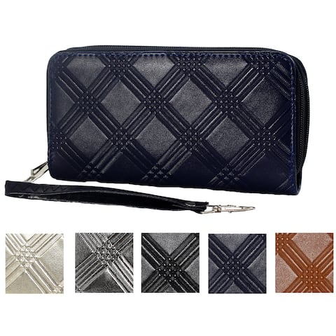 Shining and Matte Finish Diamond-cut Engraving Clutch Wallet