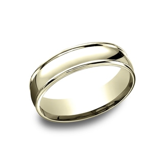 14k Yellow Gold Men's 6.5 mm Classic High Polished Finish Comfort Fit Wedding Band