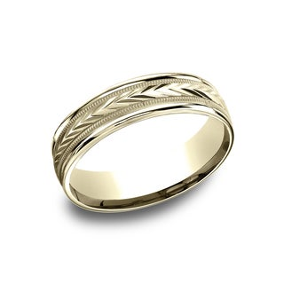 14k Yellow Gold Men's 6.5 mm Wheat Patterned Center Comfort Fit Wedding Band