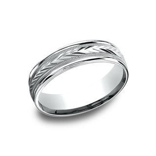 14k White Gold Men's 6.5 mm Wheat Patterned Center Comfort Fit Wedding Band