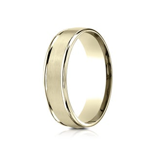 14k Yellow Gold Men's 6.5 mm Classic Satin Center Comfort Fit Wedding Band (More options available)