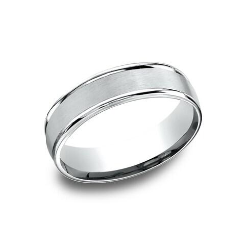 14k White Gold Men's 6.5 mm Classic Satin Center Comfort Fit Wedding Band - 14K White Gold