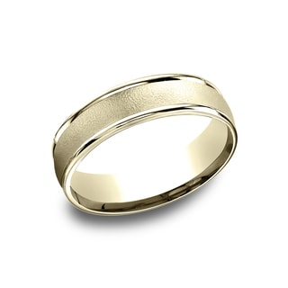 Men's 14k Yellow Gold Wire Brushed Comfort-Fit Wedding Band (6.5mm)