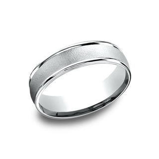 14k White Gold Men's 6.5 mm Wire Brushed Center Comfort Fit Wedding Band
