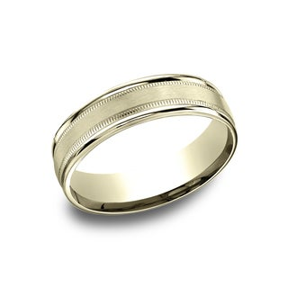 14k Yellow Gold Men's 6.5 mm Classic Satin Finished Center Comfort Fit Wedding Band