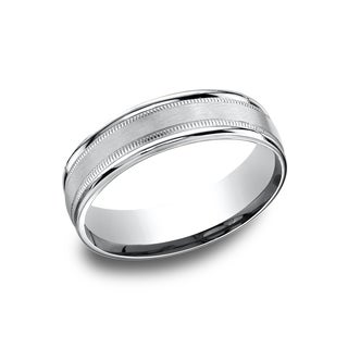 14k White Gold 6.5mm Men's Comfort-Fit Milgrain Satin Wedding Band - 14K White gold