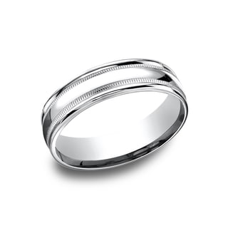 14k White Gold Men's 6.5 mm Classic High Polished Finish Comfort Fit Wedding Band