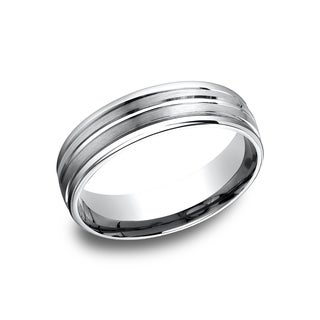 14k White Gold Men's 6.5 mm Classic Satin Finish Comfort Fit Wedding Band